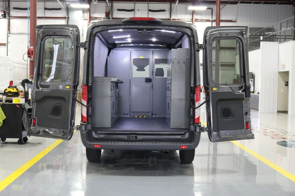 Custom van shelving solutions installed by Precision Installations, Inc.