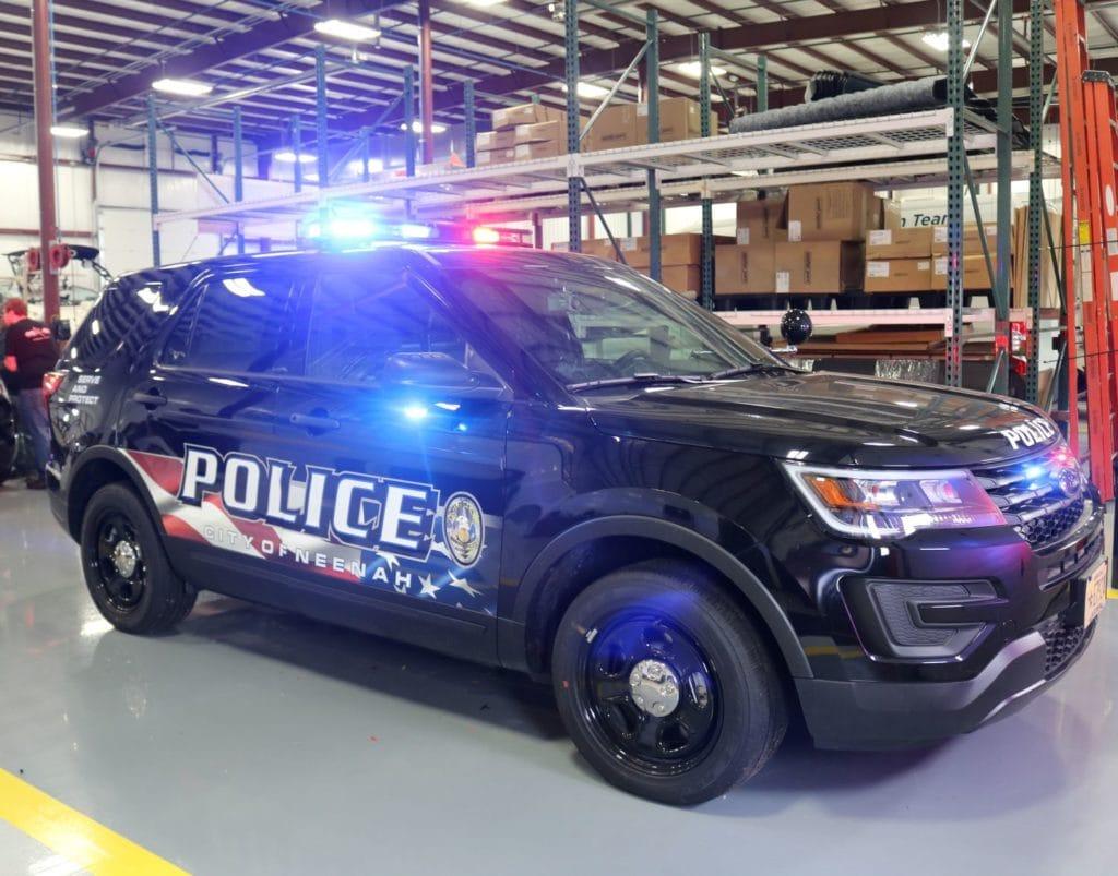 Police car light installation